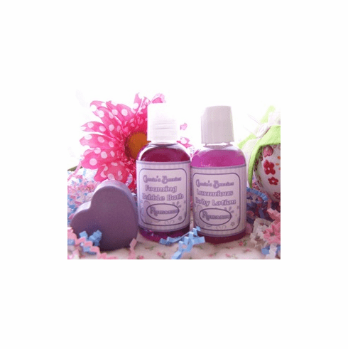 Mini Bubble Bath, Body Lotion, and Guest Sized Heart Soap Gift Set