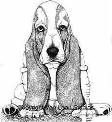 "Basset Hound ""Puppy Sitting""  Limited Edition Print"
