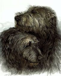 "Irish Wolfhound Watercolor Painting ""Best Friends"""