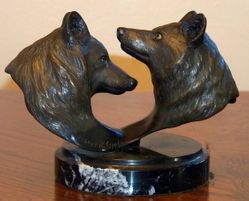 "Wolf Bronze by Robert R. Copple ""Chance Reunion"""
