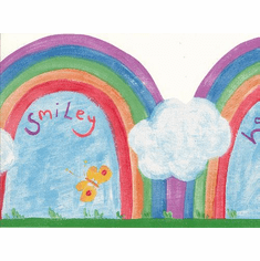 873393 Happy & Smiley Rainbow Diecut Wallpaper Border LY70191b