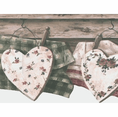 874769 Country Clothsline with Hearts Wallpaper Border 5812146
