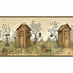 875106 Outhouse Wallpaper Border (Green)  FAM65022b