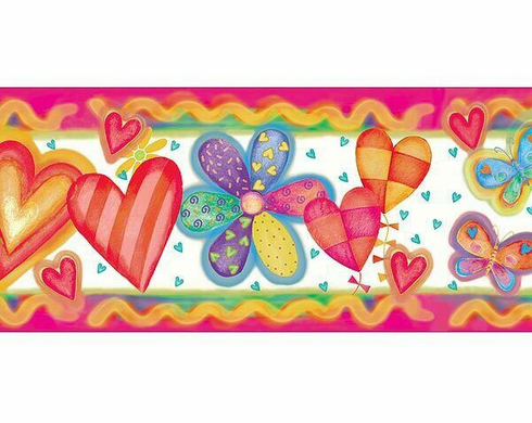 875386 Bright and Colorful Flower Party Wallpaper Border CK83321b