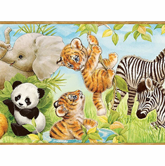 875397 Jungle Pals Wallpaper Border (beige trim) CK83002b BBC83002b BVB83002b