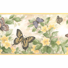 875632 Yellow Trim Butterflies and Flowers Wallpaper Border 81b38633