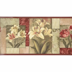 876371 Contemporary Floral Blocks Wallpaper Border SB10305b
