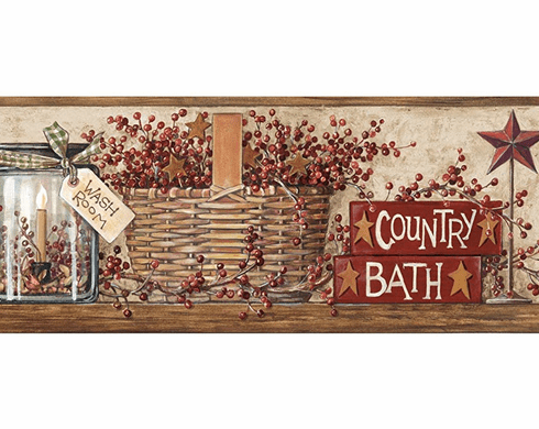 877245 Country Bath with Outhouses Wallpaper Border HK4648bd