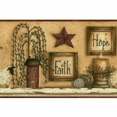 877353 Faith Hope Love Shelf Wallpaper Border CN1136bd