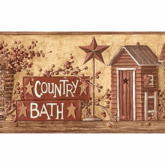 877384 Country Bath (Outhouse) Wallpaper Border HK4650bd