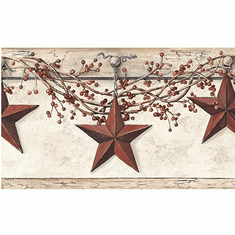 877389 Country Hanging Star Wallpaper Border HK4664bd