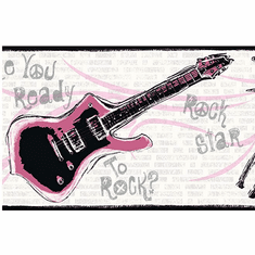 877634 Guitar Rock N Roll Black/Pink Wallpaper Border JE3639b