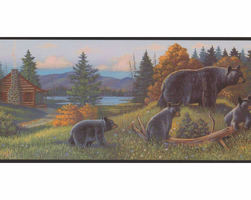 877660 Bears And Cabin Wallpaper Border WL5627b