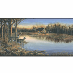877664 Deer Cabin Camping Tranquil Evening on the Lake WD4174B
