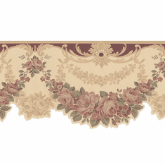 877704 Scalloped Edge Floral Satin Wallpaper Border 978b05164