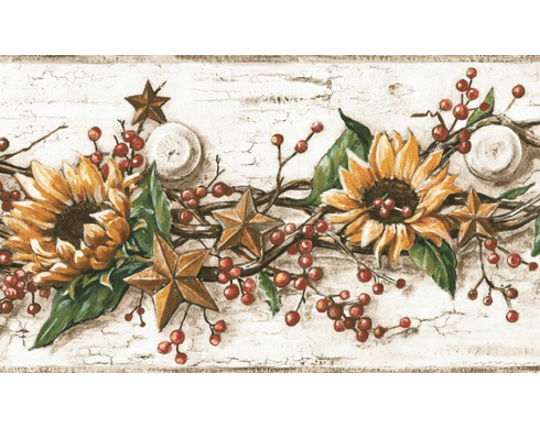 877816 Sunflower Tin Stars Berries Peg Wallpaper Border CB5516bd