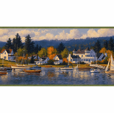 877848 Sailboat Nautical Cove Wallpaper Border CW32202b