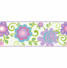 877879 Pastel Floral Scroll Wallpaper Border