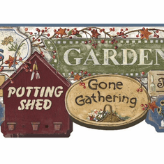 877957 Garden Signs Wallpaper Border (blue) CN1154bd