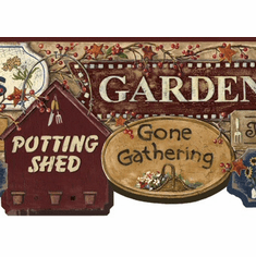 877958 Garden Signs Wallpaper Border (burgundy) CN1155bd