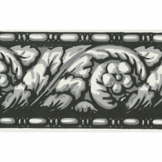 878009 Narrow Architectural Wallpaper Border Black/Silver