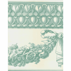 878014 Architectural Egg & Dart Swag Wallpaper Border Teal