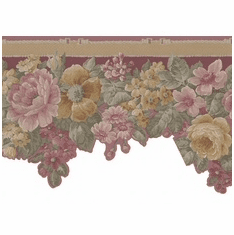 878112 Scalloped Floral Satin Wallpaper Border 29-419