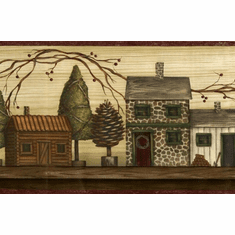 878122 Rustic Lodge Cabins TC48072b Wallpaper Border