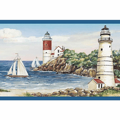 878157 Lighthouse Sailboat Wallpaper Border BG1663bd