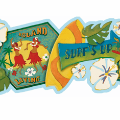 878175 Surf's Up Wallpaper Border GU92171B