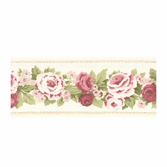 878194 Narrow Antique Floral Cream Wallpaper Border AB78287