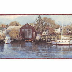 878230 Northern Harbor Scenic Sea Wallpaper Border CW32122b
