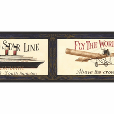 878232 Antique Cruise Ships Travel Airplane Wallpaper Border AW0589b