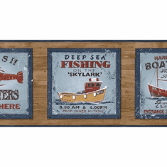 878298 Deep Sea Fishing Signs Wallpaper Border PB58047b