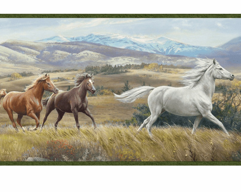 878321 Open Range Horses Wallpaper Border