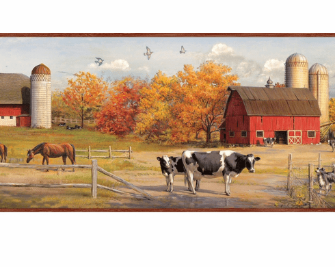 878322 American Farmer Barn Silo Wallpaper Border