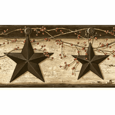 878333 Rustic Barn Star Ennis Sand Wallpaper Border