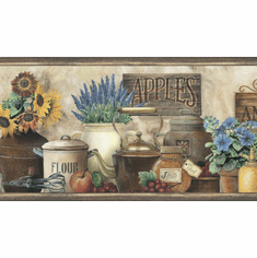 878345 Antiques & Herbs Wallpaper Border PUR44581b