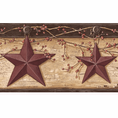 878346 Rustic Barn Star Ennis Wheat Wallpaper Border PUR44603b