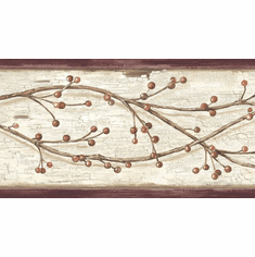 878348 Winterberry Branches Wallpaper Border PUR44614b