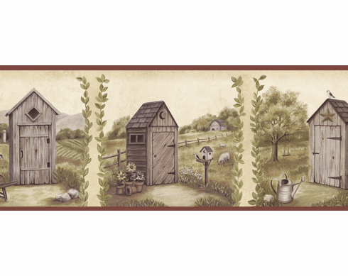 878351 Country Meadows Outhouse Wallpaper Border PUR44552b