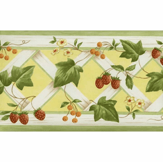 878418 Strawberry Ivy Lattace Wallpaper Border KK79367