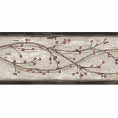 878450 Winterberry Branches Wallpaper Border PUR44611b