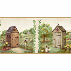 878456 Country Meadows Outhouse Wallpaper Border PUR44551b
