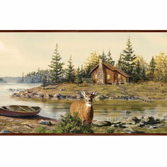 878460 Cabin Creek Deer Wallpaper Border