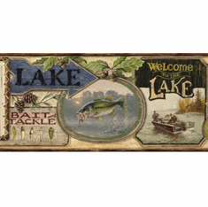 878473 Fishing Lodge Signs Wallpaper Border HTM48441b