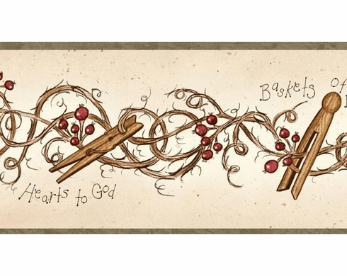 878493 Clothespins and Rosehips Wallpaper Border FAM65042b
