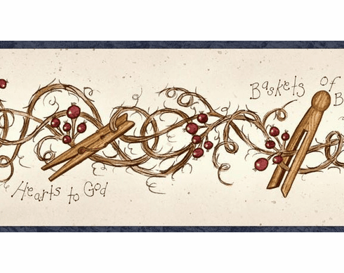 878494 Clothespins and Rosehips Wallpaper Border FAM65041b