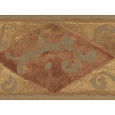 878504 Gold Burgundy Diamond Scroll Wallpaper Border SF30024