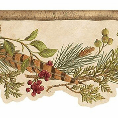 878516 Red Lodge Berries Wallpaper Border TC48141b